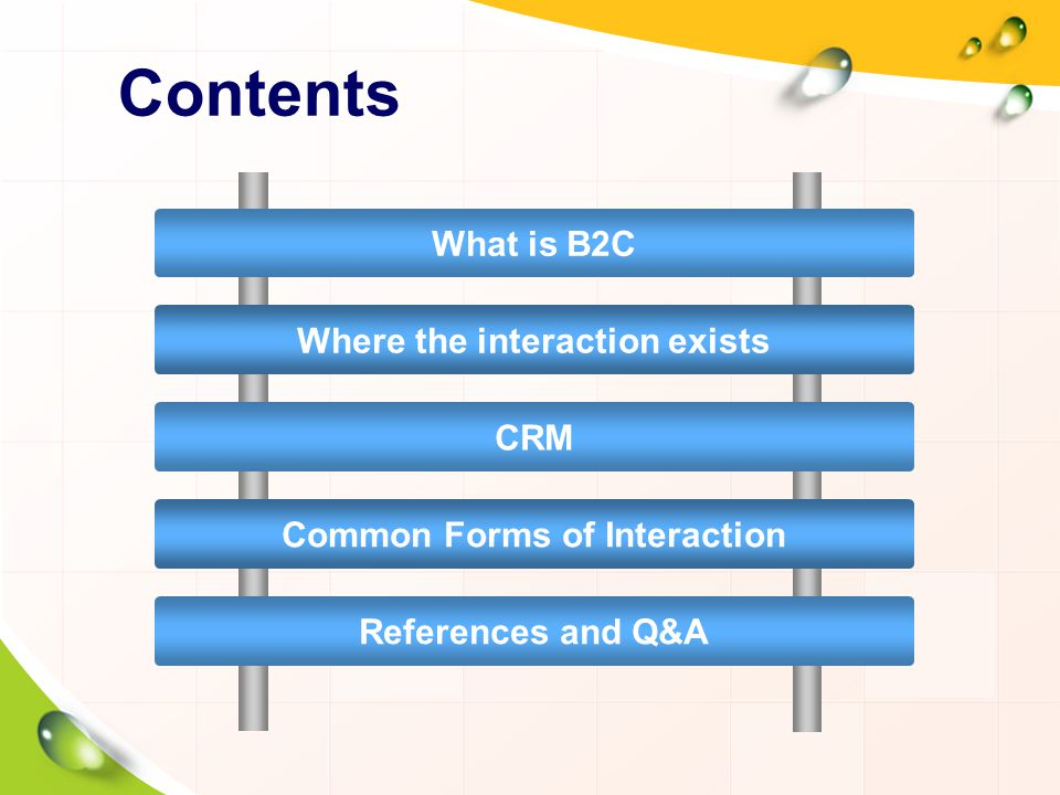 Contents What is B2C Where the interaction exists CRM Common Forms of Interaction References and Q&A