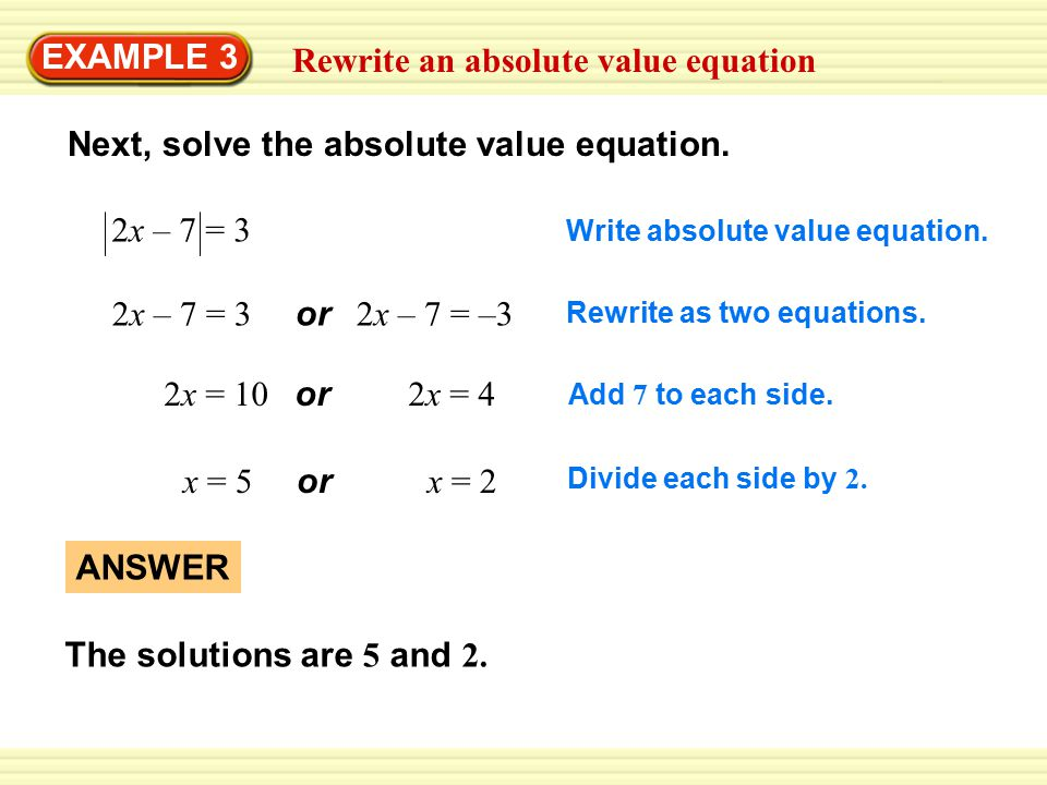 Rewrite an absolute value equation EXAMPLE 3 Next, solve the absolute value equation.