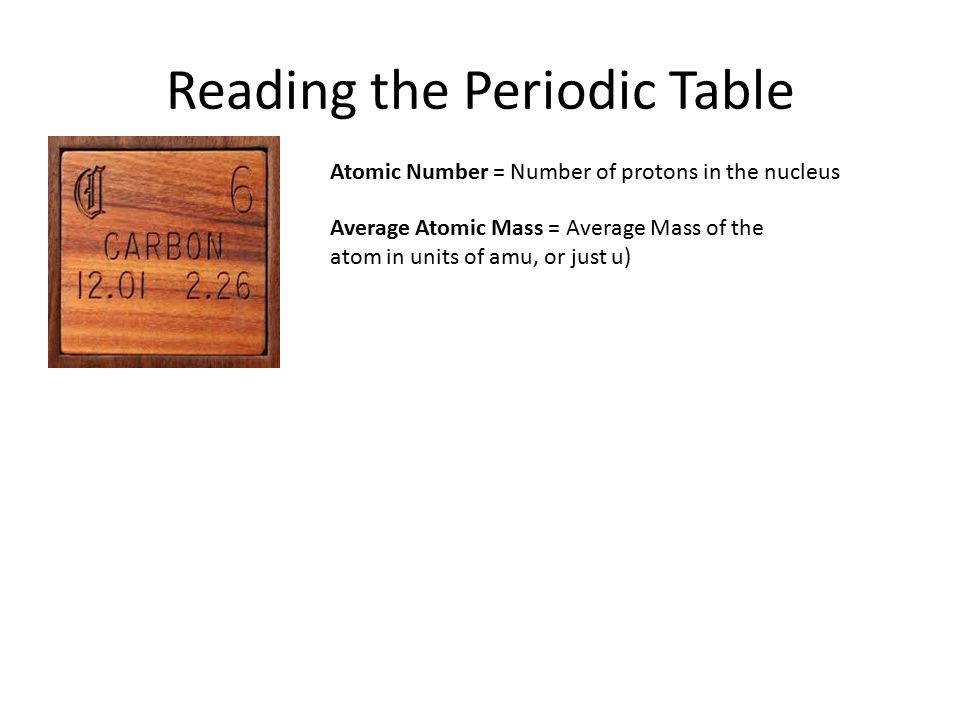 The atom the periodic table reading the periodic table ppt 4 reading the periodic table atomic number number of protons in the nucleus average atomic mass average mass of the atom in units of amu or just u urtaz Image collections