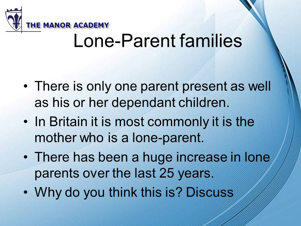 Powerpoint Templates THE MANOR ACADEMY Lone-Parent families There is only one parent present as well as his or her dependant children.