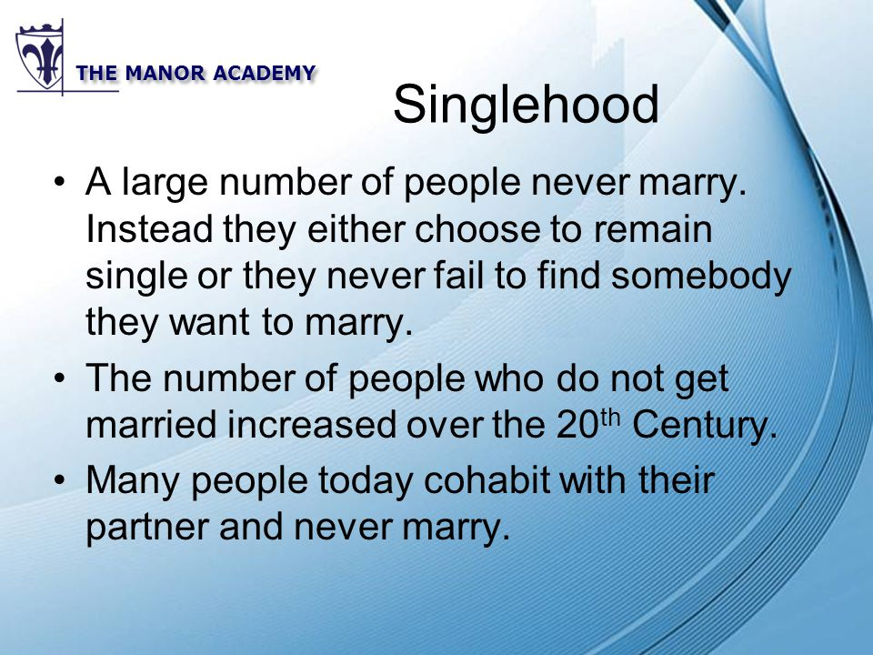 Powerpoint Templates THE MANOR ACADEMY Singlehood A large number of people never marry.