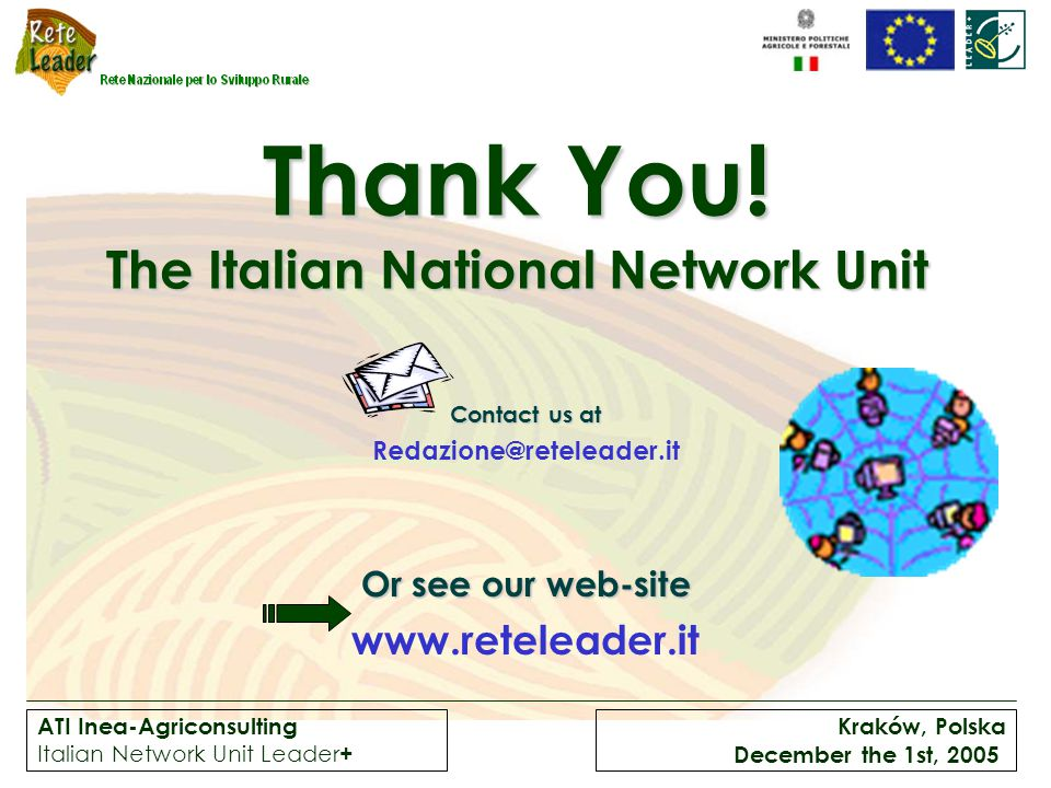 ATI Inea-Agriconsulting Italian Network Unit Leader + Kraków, Polska December the 1st, 2005 Thank You.