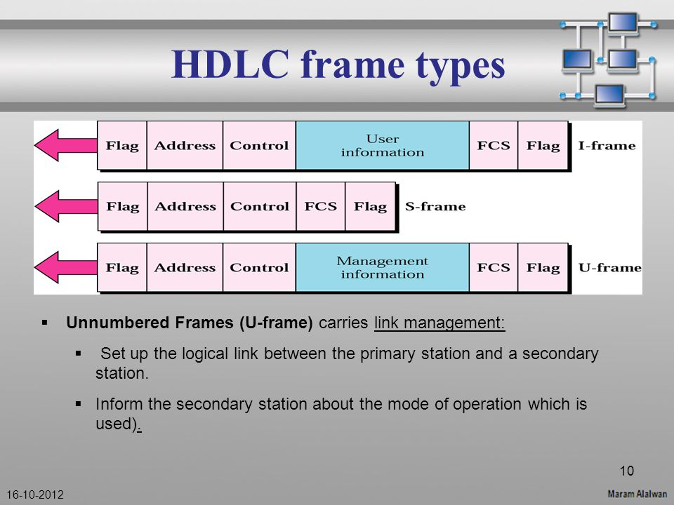 HDLC frame types  Unnumbered Frames (U-frame) carries link management:  Set up the logical link between the primary station and a secondary station.