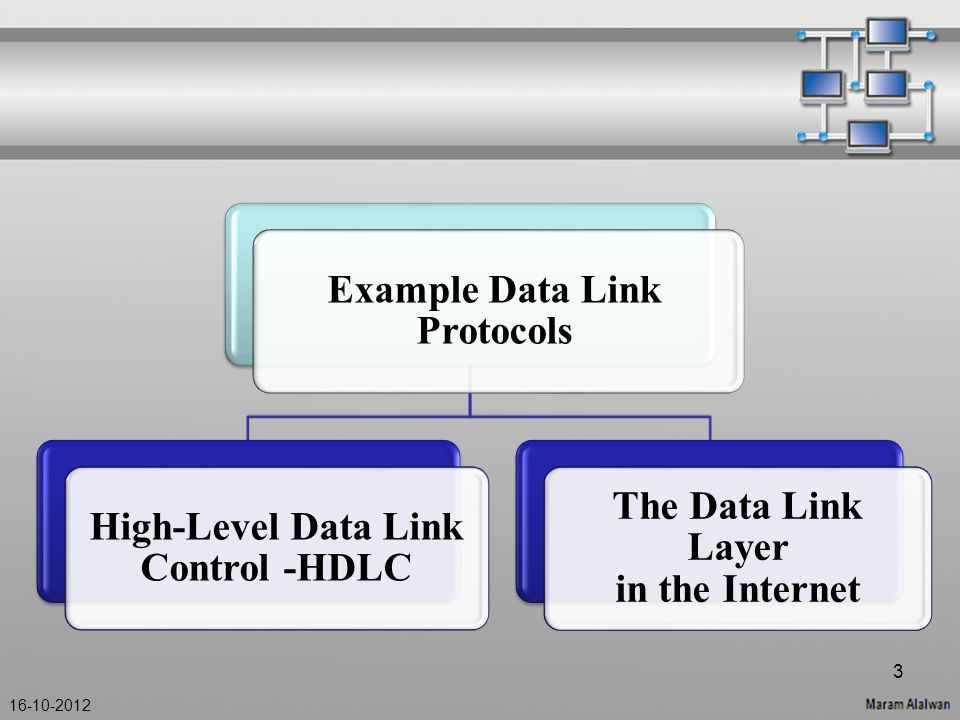 Example Data Link Protocols High-Level Data Link Control -HDLC The Data Link Layer in the Internet