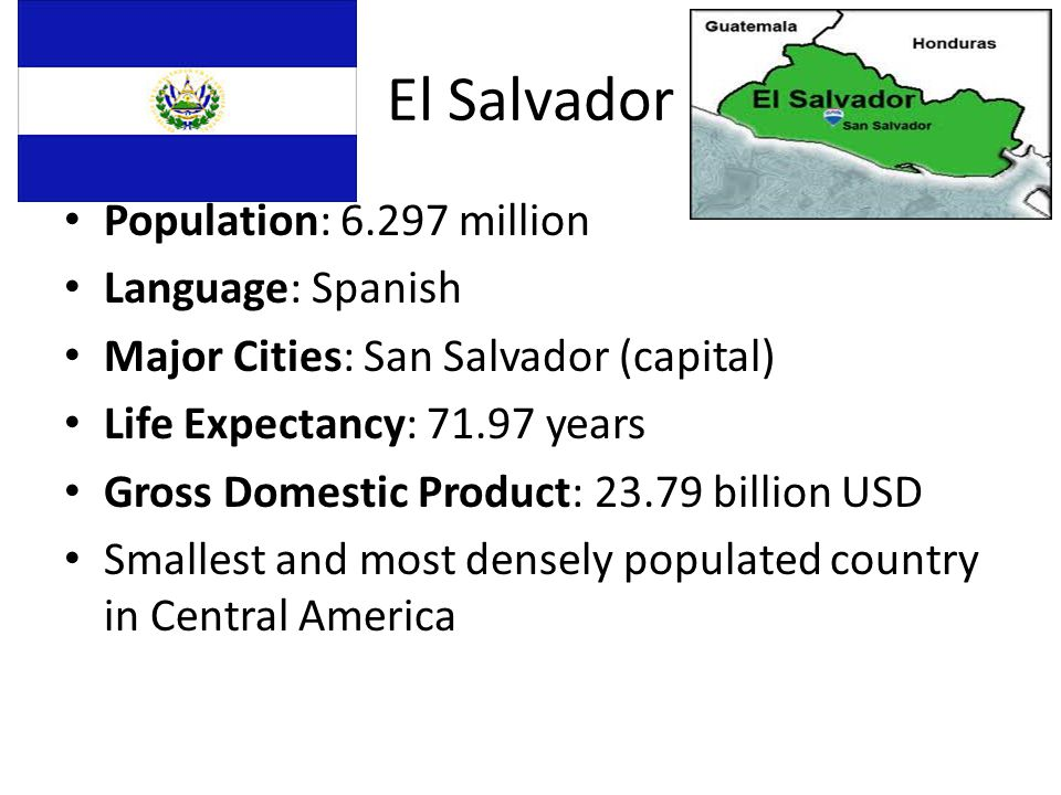 El Salvador Population: million Language: Spanish Major Cities: San Salvador (capital) Life Expectancy: years Gross Domestic Product: billion USD Smallest and most densely populated country in Central America