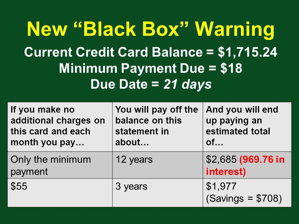 Current Credit Card Balance = $1, Minimum Payment Due = $18 Due Date = 21 days If you make no additional charges on this card and each month you pay… You will pay off the balance on this statement in about… And you will end up paying an estimated total of… Only the minimum payment 12 years$2,685 ( in interest) $553 years$1,977 (Savings = $708) New Black Box Warning