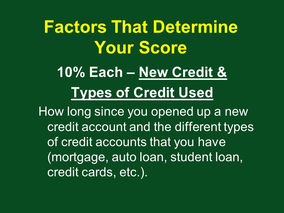 Factors That Determine Your Score 10% Each – New Credit & Types of Credit Used How long since you opened up a new credit account and the different types of credit accounts that you have (mortgage, auto loan, student loan, credit cards, etc.).