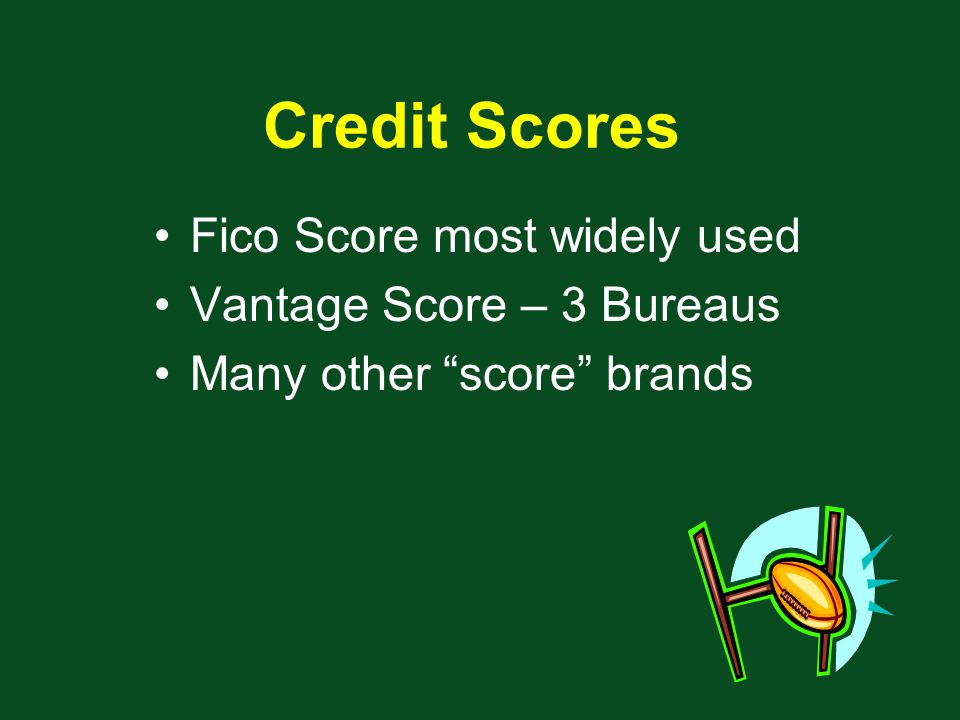 Fico Score most widely used Vantage Score – 3 Bureaus Many other score brands Credit Scores
