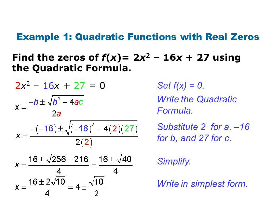 """Presentation """"Quadratic formula. Warm Up Write each function in ..."""