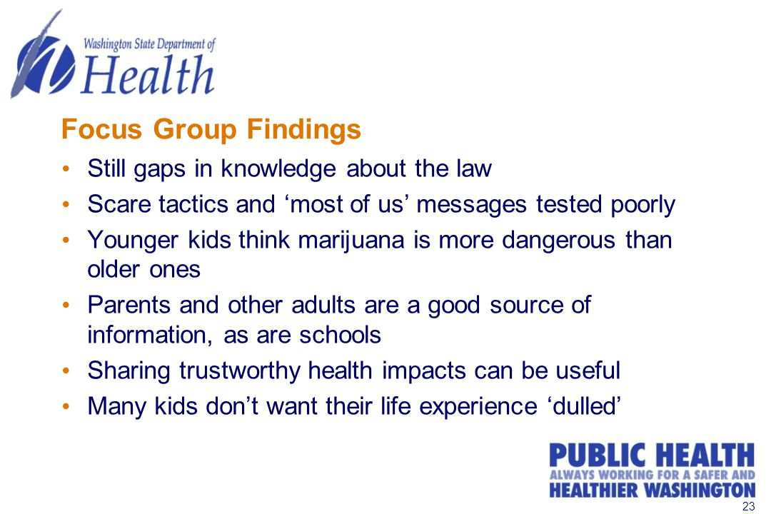 23 Focus Group Findings Still gaps in knowledge about the law Scare tactics and 'most of us' messages tested poorly Younger kids think marijuana is more dangerous than older ones Parents and other adults are a good source of information, as are schools Sharing trustworthy health impacts can be useful Many kids don't want their life experience 'dulled'
