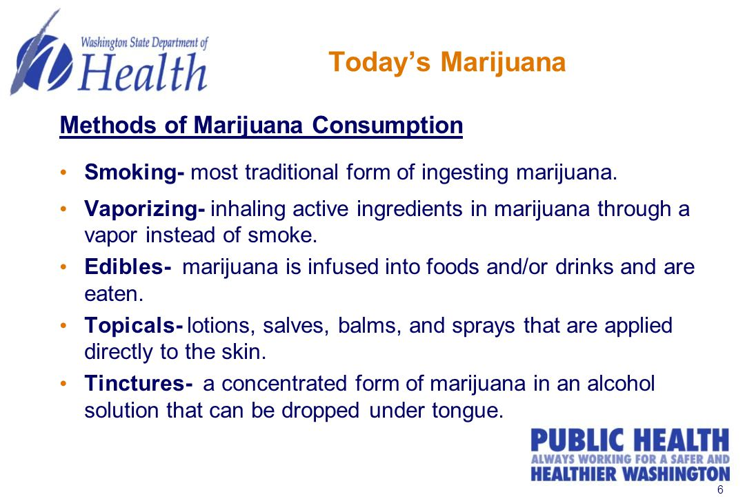 6 Today's Marijuana Methods of Marijuana Consumption Smoking- most traditional form of ingesting marijuana.