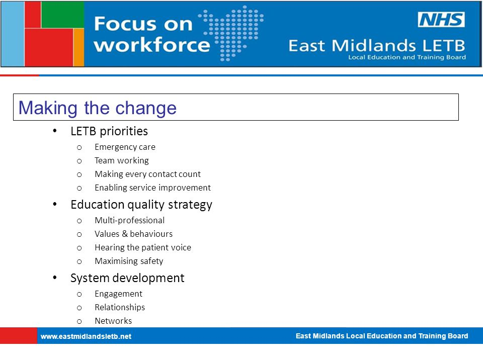 East Midlands Local Education and Training Board   Making the change LETB priorities o Emergency care o Team working o Making every contact count o Enabling service improvement Education quality strategy o Multi-professional o Values & behaviours o Hearing the patient voice o Maximising safety System development o Engagement o Relationships o Networks