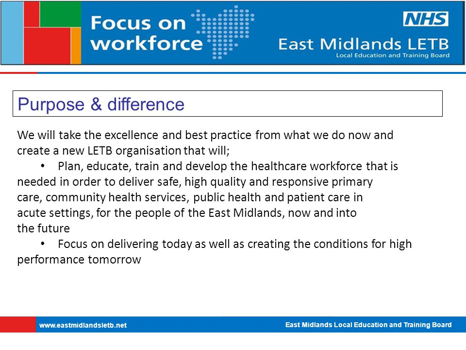 East Midlands Local Education and Training Board   Purpose & difference We will take the excellence and best practice from what we do now and create a new LETB organisation that will; Plan, educate, train and develop the healthcare workforce that is needed in order to deliver safe, high quality and responsive primary care, community health services, public health and patient care in acute settings, for the people of the East Midlands, now and into the future Focus on delivering today as well as creating the conditions for high performance tomorrow