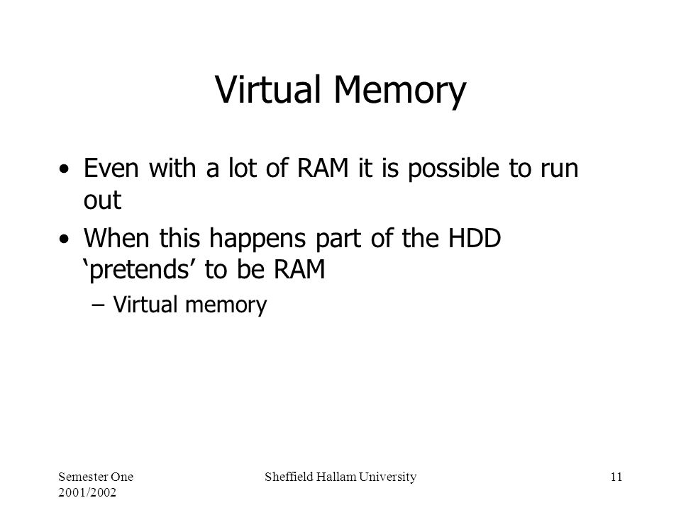 Semester One 2001/2002 Sheffield Hallam University11 Virtual Memory Even with a lot of RAM it is possible to run out When this happens part of the HDD 'pretends' to be RAM –Virtual memory