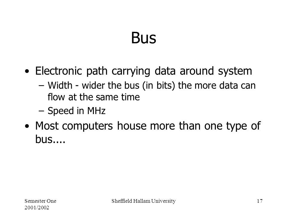 Semester One 2001/2002 Sheffield Hallam University17 Bus Electronic path carrying data around system –Width - wider the bus (in bits) the more data can flow at the same time –Speed in MHz Most computers house more than one type of bus....