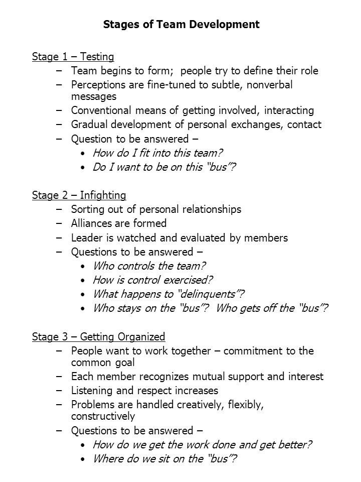 Stages of Team Development Stage 1 – Testing –Team begins to form; people try to define their role –Perceptions are fine-tuned to subtle, nonverbal messages –Conventional means of getting involved, interacting –Gradual development of personal exchanges, contact –Question to be answered – How do I fit into this team.