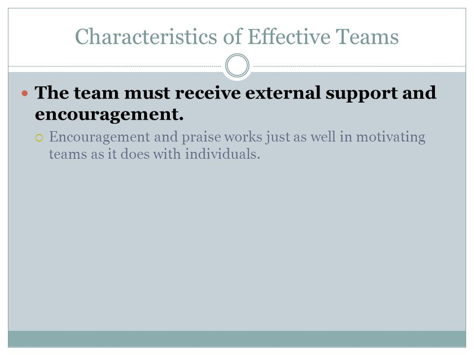 Characteristics of Effective Teams The team must receive external support and encouragement.  Encouragement and praise works just as well in motivati