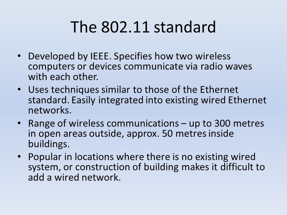 The standard Developed by IEEE.