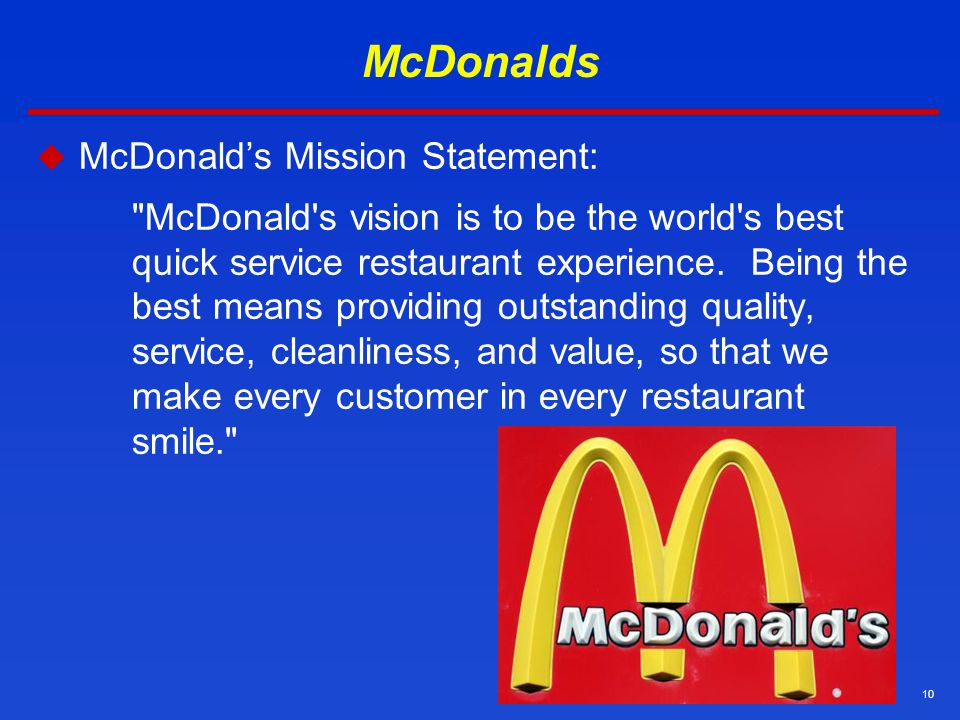 analysis of mcdonalds mission and vision Stakeholder analysis and mission statement development mcdonalds -development of a strategic plan board to talk about our mission and vision.