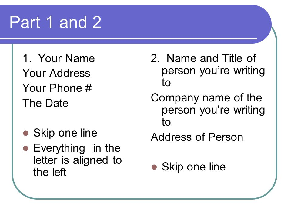 how to write address on one line