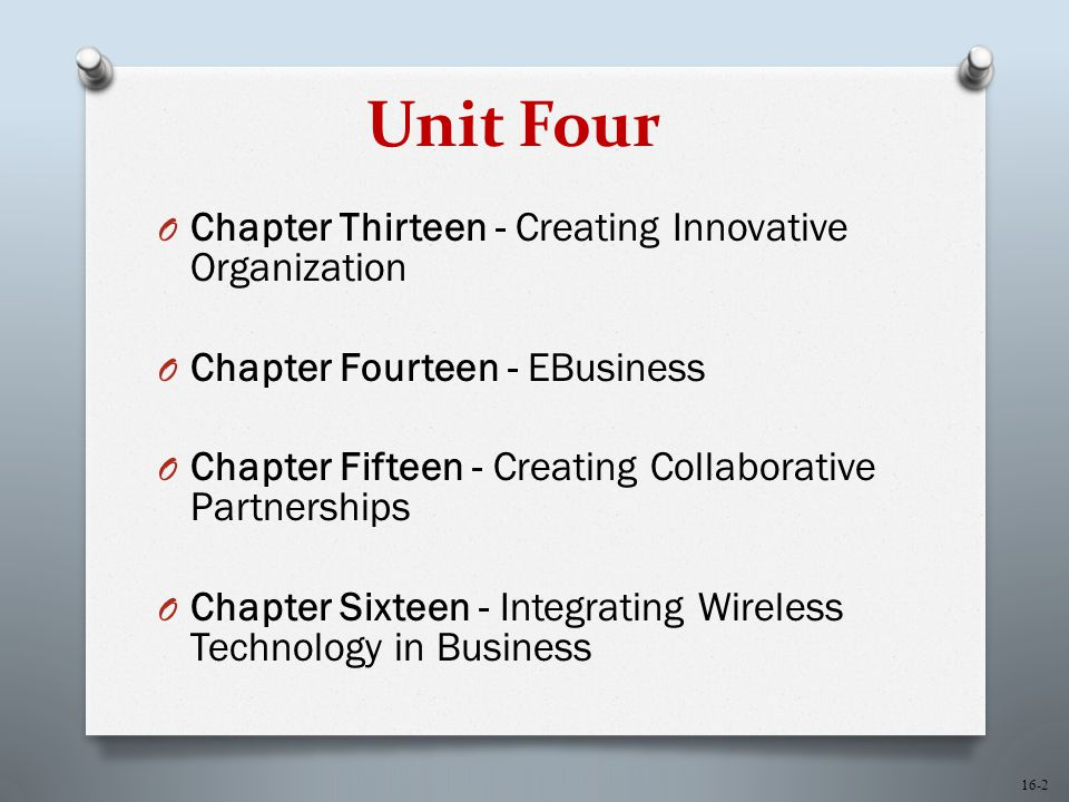 16-2 Unit Four O Chapter Thirteen - Creating Innovative Organization O Chapter Fourteen - EBusiness O Chapter Fifteen - Creating Collaborative Partner