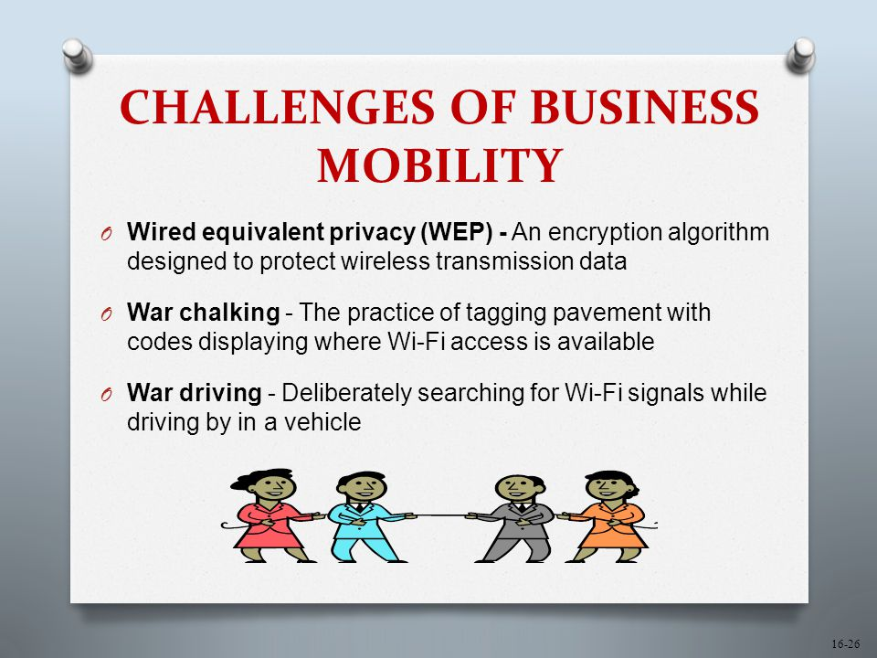 16-26 CHALLENGES OF BUSINESS MOBILITY O Wired equivalent privacy (WEP) - An encryption algorithm designed to protect wireless transmission data O War