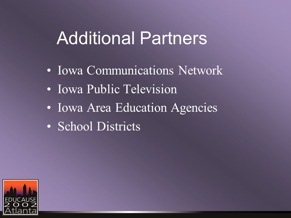 Additional Partners Iowa Communications Network Iowa Public Television Iowa Area Education Agencies School Districts