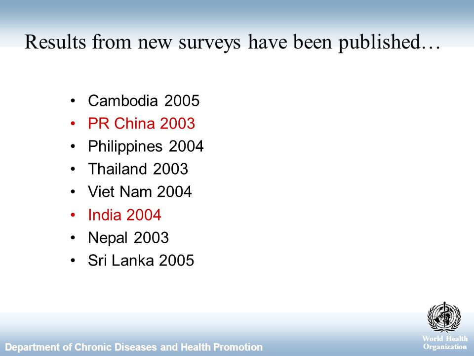World Health Organization Department of Chronic Diseases and Health Promotion Results from new surveys have been published… Cambodia 2005 PR China 2003 Philippines 2004 Thailand 2003 Viet Nam 2004 India 2004 Nepal 2003 Sri Lanka 2005