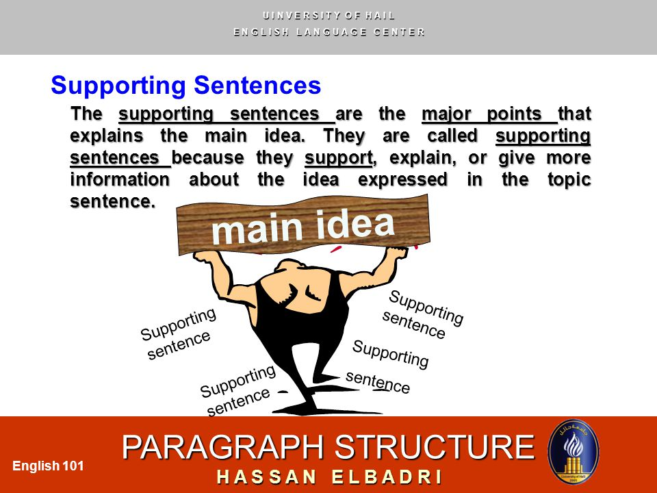 U I N V E R S I T Y O F H A I L E N G L I S H L A N G U A G E C E N T E R PARAGRAPH STRUCTURE H A S S A N E L B A D R I English 101 Supporting Sentences The supporting sentences are the major points that explains the main idea.