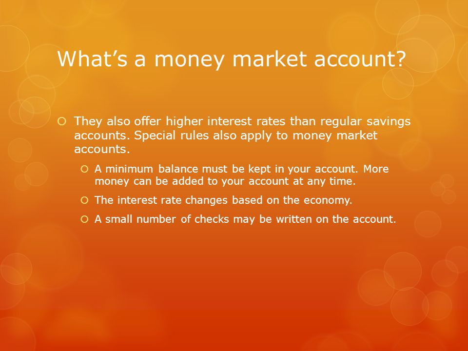 What's a money market account.