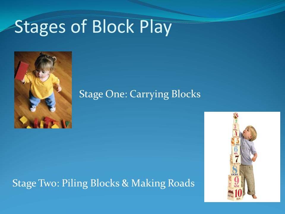 Stages of Block Play Stage One: Carrying Blocks Stage Two: Piling Blocks & Making Roads