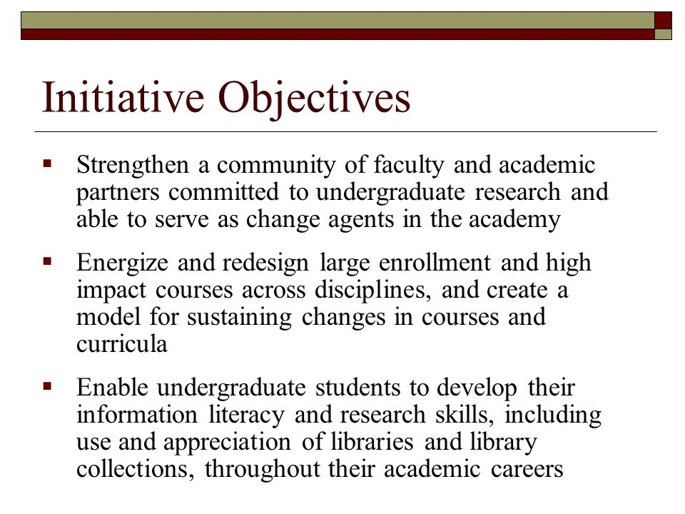 Initiative Objectives  Strengthen a community of faculty and academic partners committed to undergraduate research and able to serve as change agents in the academy  Energize and redesign large enrollment and high impact courses across disciplines, and create a model for sustaining changes in courses and curricula  Enable undergraduate students to develop their information literacy and research skills, including use and appreciation of libraries and library collections, throughout their academic careers