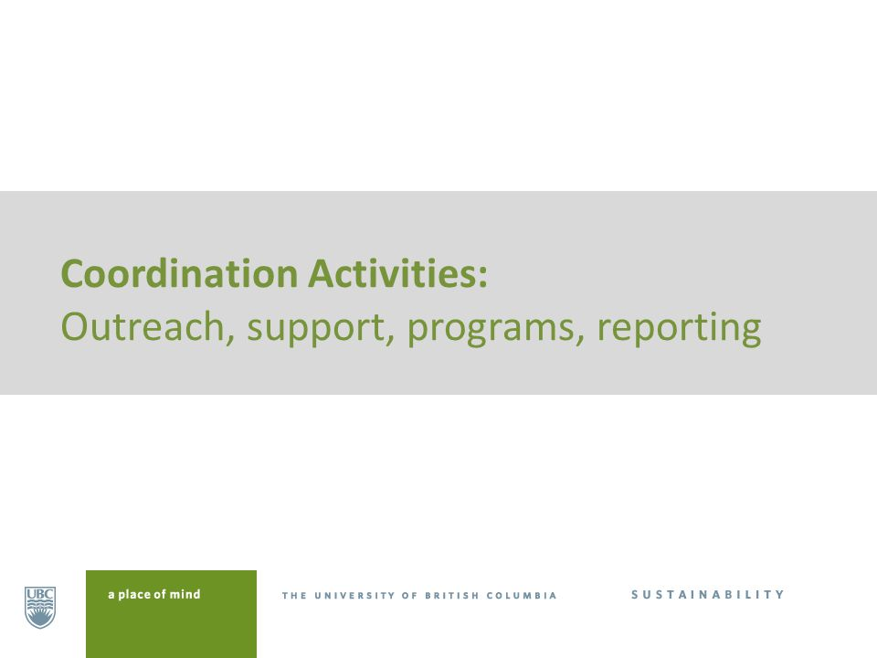 Coordination Activities: Outreach, support, programs, reporting