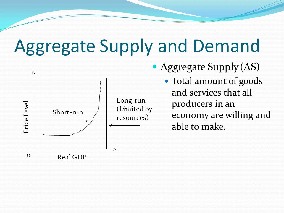 Aggregate Supply and Demand Aggregate Supply (AS) Total amount of goods and services that all producers in an economy are willing and able to make.