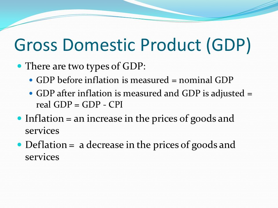 Gross Domestic Product (GDP) There are two types of GDP: GDP before inflation is measured = nominal GDP GDP after inflation is measured and GDP is adjusted = real GDP = GDP - CPI Inflation = an increase in the prices of goods and services Deflation = a decrease in the prices of goods and services