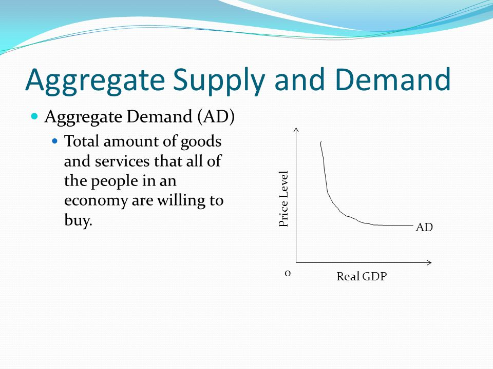 Aggregate Supply and Demand Aggregate Demand (AD) Total amount of goods and services that all of the people in an economy are willing to buy.