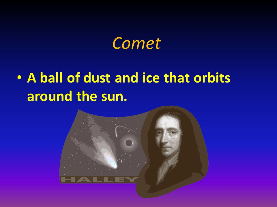 Comet A ball of dust and ice that orbits around the sun.