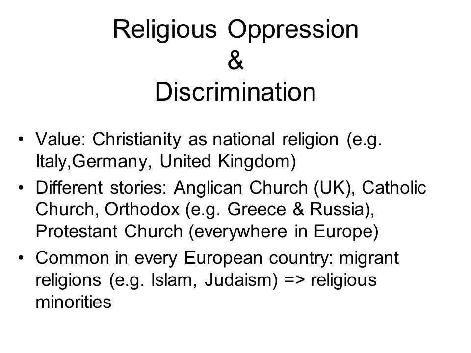 Value: Christianity as national religion (e.g.