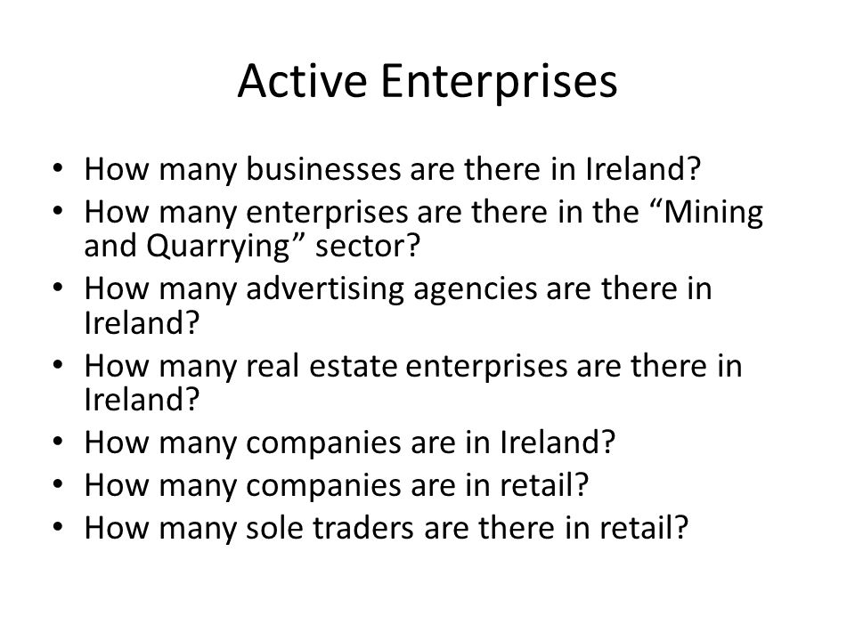 Active Enterprises How many businesses are there in Ireland.