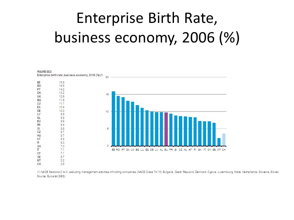 Enterprise Birth Rate, business economy, 2006 (%)