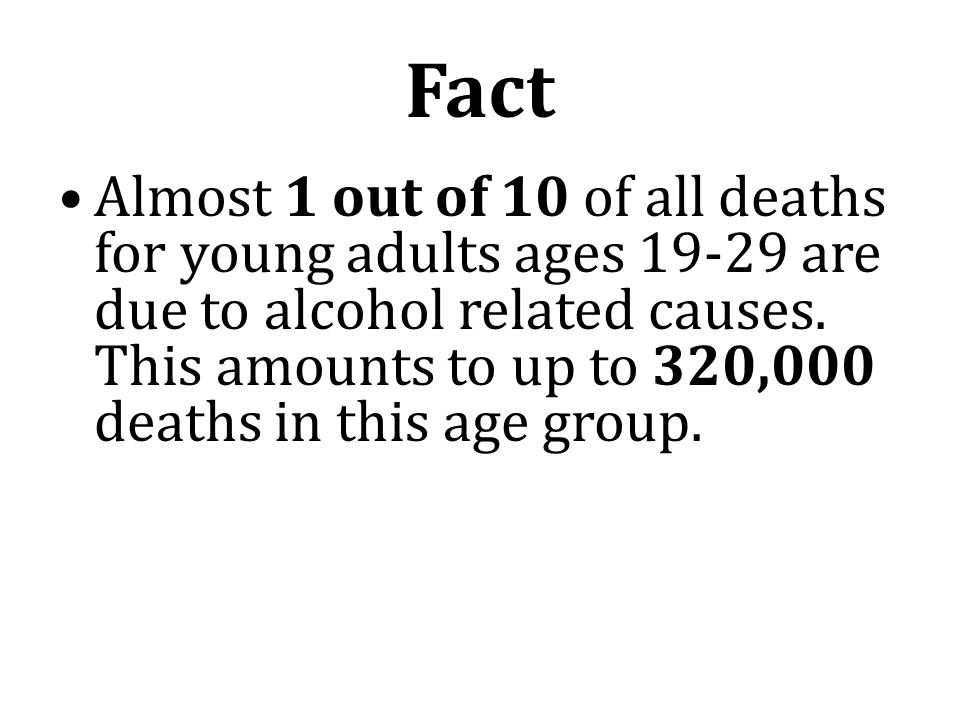 Fact Almost 1 out of 10 of all deaths for young adults ages are due to alcohol related causes.