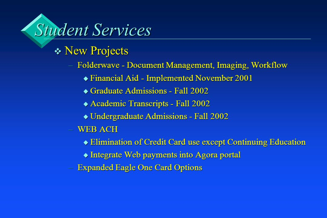 Student Services v New Projects –Folderwave - Document Management, Imaging, Workflow u Financial Aid - Implemented November 2001 u Graduate Admissions - Fall 2002 u Academic Transcripts - Fall 2002 u Undergraduate Admissions - Fall 2002 –WEB ACH u Elimination of Credit Card use except Continuing Education u Integrate Web payments into Agora portal –Expanded Eagle One Card Options