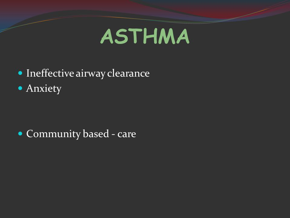 ASTHMA Ineffective airway clearance Anxiety Community based - care