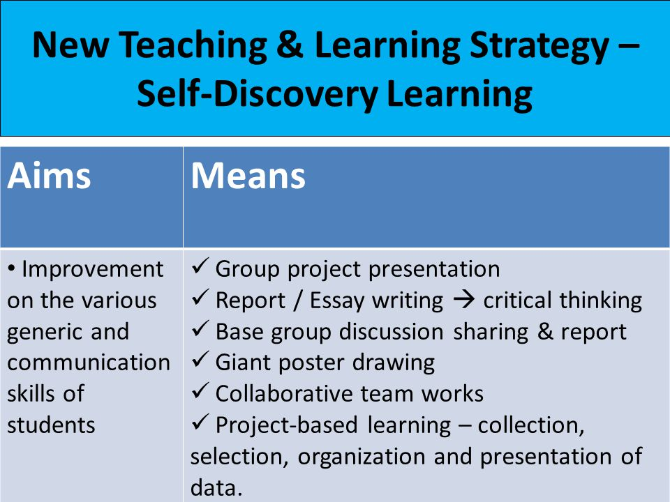 new teaching learning strategy self discovery learning  2 aimsmeans improvement