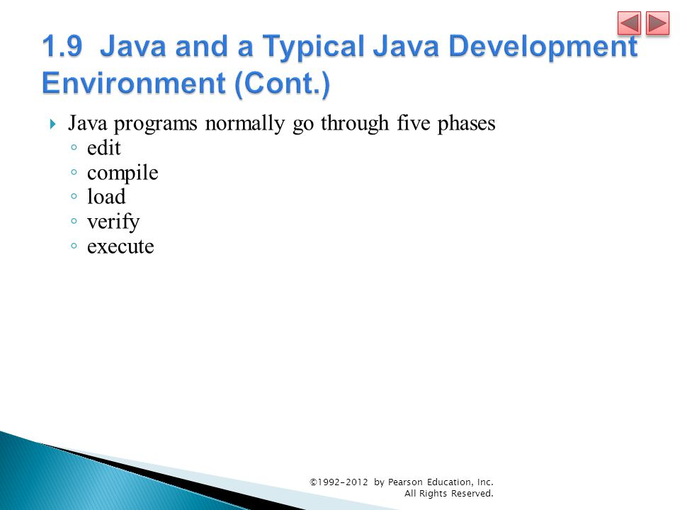  Java programs normally go through five phases ◦ edit ◦ compile ◦ load ◦ verify ◦ execute © by Pearson Education, Inc.