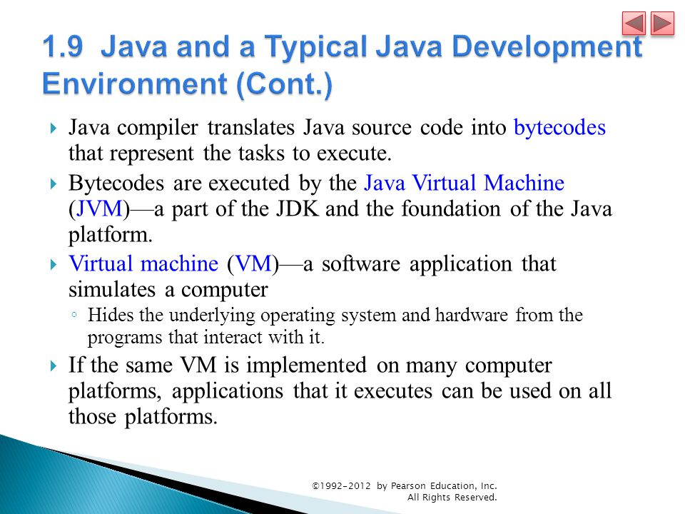  Java compiler translates Java source code into bytecodes that represent the tasks to execute.