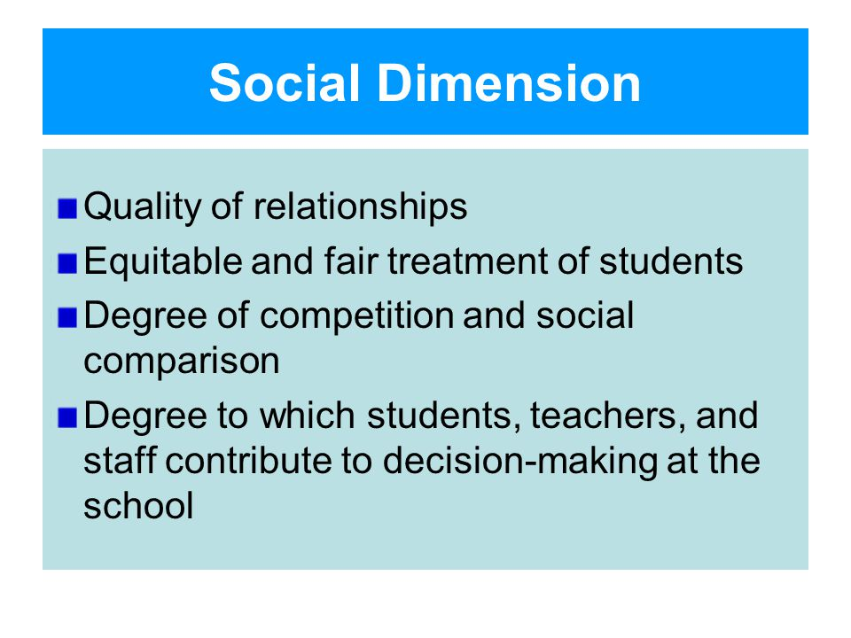 Social Dimension Quality of relationships Equitable and fair treatment of students Degree of competition and social comparison Degree to which students, teachers, and staff contribute to decision-making at the school