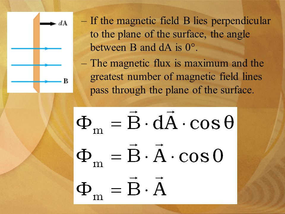 –If the magnetic field B lies perpendicular to the plane of the surface, the angle between B and dA is 0°.