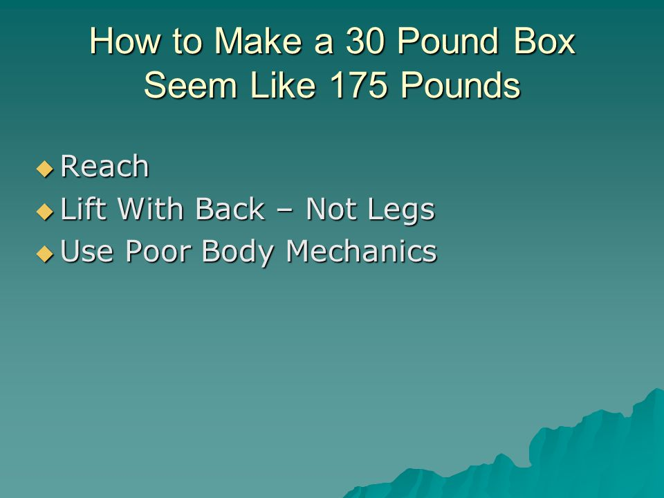 How to Make a 30 Pound Box Seem Like 175 Pounds  Reach  Lift With Back – Not Legs  Use Poor Body Mechanics