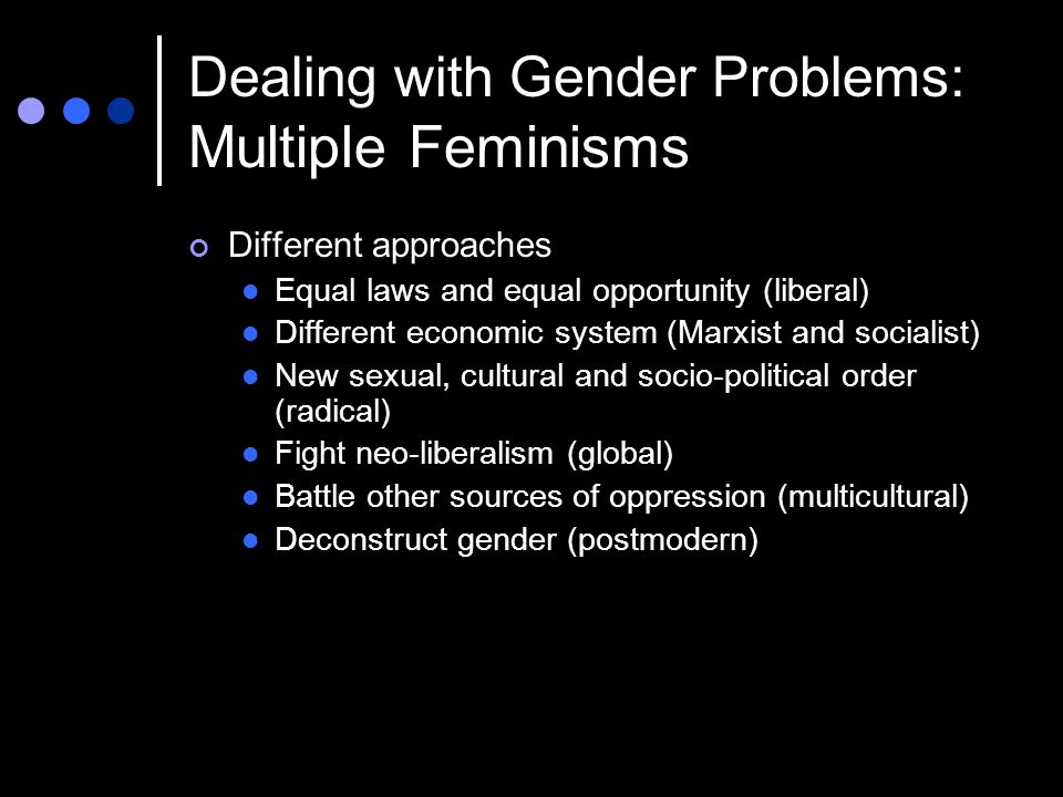 Dealing with Gender Problems: Multiple Feminisms Different approaches Equal laws and equal opportunity (liberal) Different economic system (Marxist and socialist) New sexual, cultural and socio-political order (radical) Fight neo-liberalism (global) Battle other sources of oppression (multicultural) Deconstruct gender (postmodern)